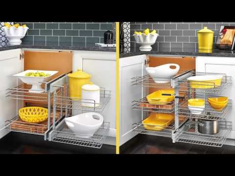"""Blind Corner Optimizer, Chrome, 26.25"""" - Transitional - Pantry And Cabinet Organizers - by Rev-A-Shelf"""