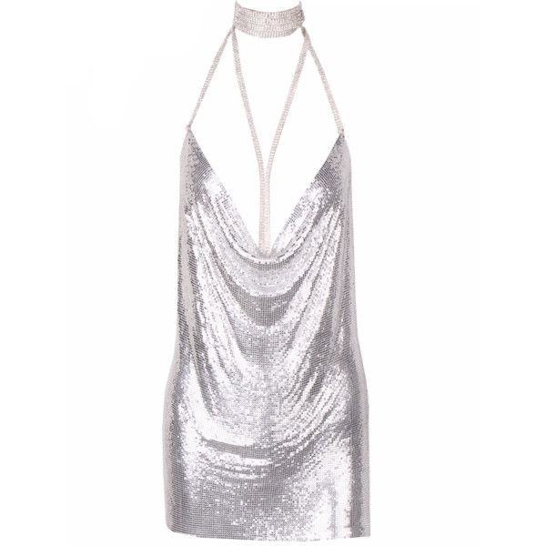 Kenda Silver Metallic Mini Dress (€102) ❤ liked on Polyvore featuring dresses, white layered dress, double layer dress, short spaghetti strap dress, short dresses and white dress