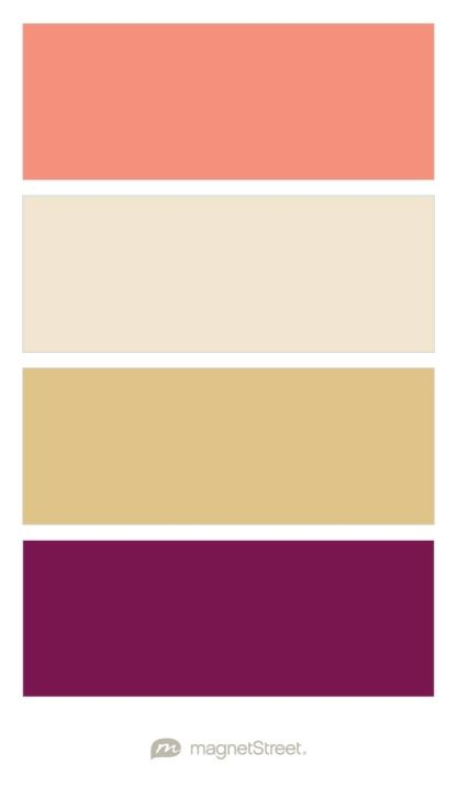 Coral, Champagne, Gold, and Sangria Wedding Color Palette - custom color palette created at MagnetStreet.com
