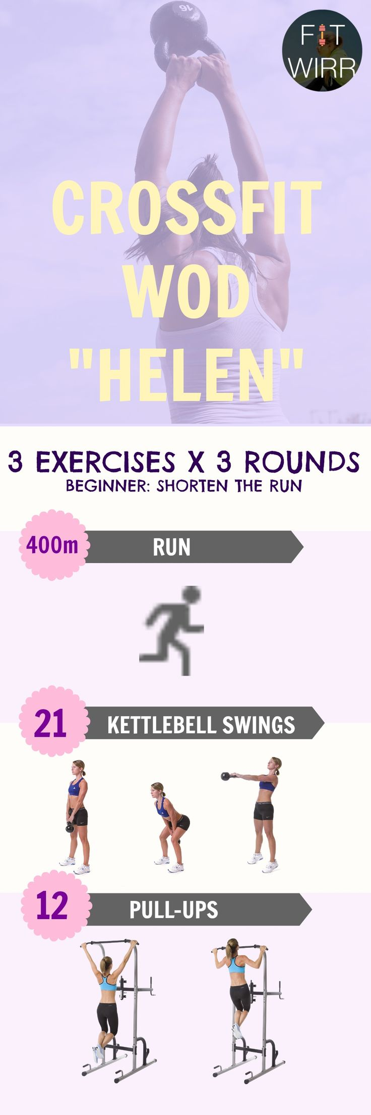 CrossFit WOD Helen. Burn calories and torch fat with this full body, high intensity workout. It combines cardio and resistance training for maximum muscle building and calorie burning effects. - www.fitwirr.com