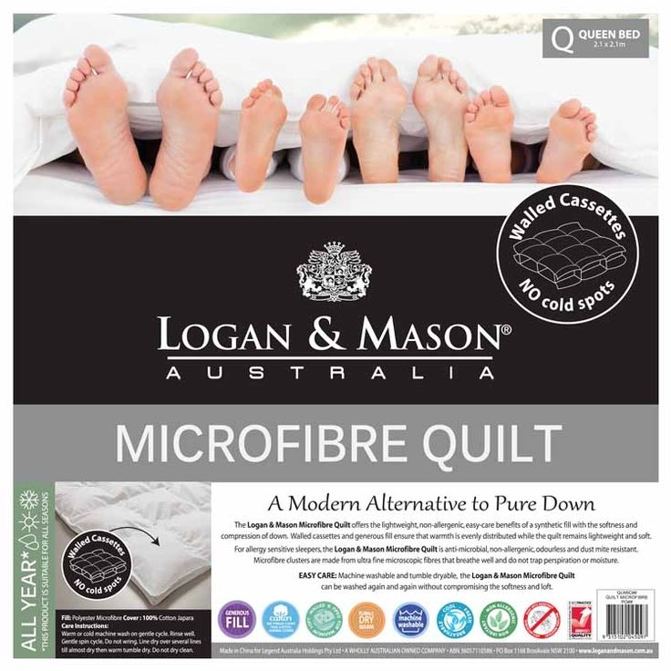 This Microfibre Quilt by Logan & Mason is constructed from highly compressed synthetic revolutionary material that mimics the soft feel and weightlessness of goose down.