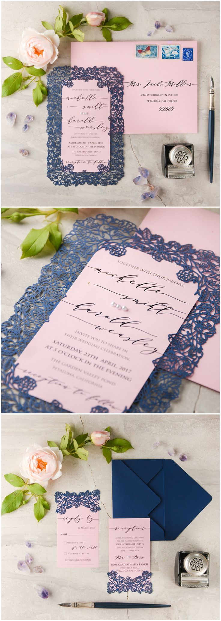 Navy & Pink Laser Cut Invitations