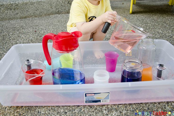 Pouring Station: a high fun, no cost toddler activity