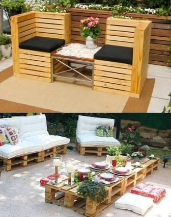 outdoor furniture upcycled from pallets