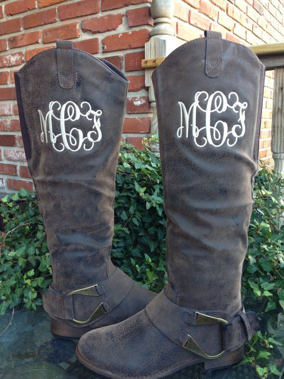 Monogrammed Boots Ladies by Thepurplepeaboutique on Etsy