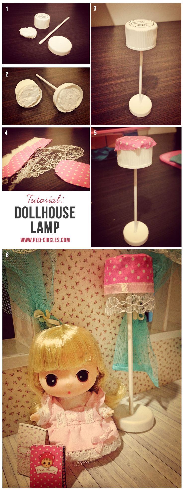 DIY Tutorial to make dollhouse lamp from trash stuff