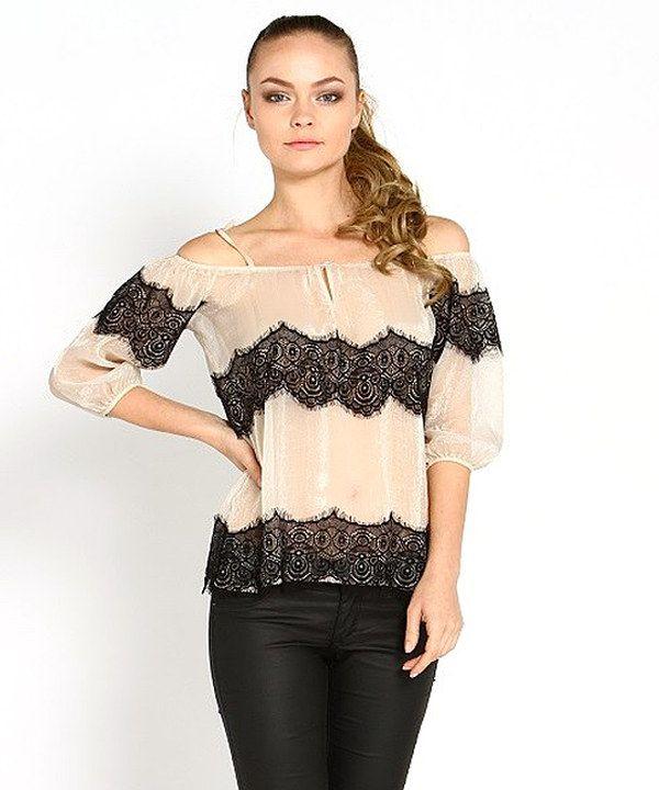 Love this Marineblu Cream Sheer Lace Drop Shoulder Top by Marineblu on #zulily! #zulilyfinds