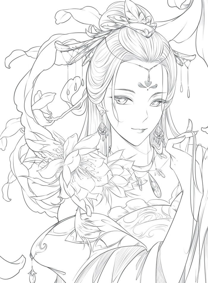 Fa Mulan In Her Classic Chinese Dress Coloring Page - Download & Print  Online Coloring Pages for Free   Color Nimbus   950x700