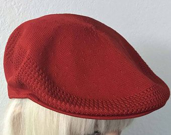 Vtg Kangol beret cap, primary red breathable fabric newsboy flat hat golf cabbie driver cap, retro 1980s made in England, English kangaroo