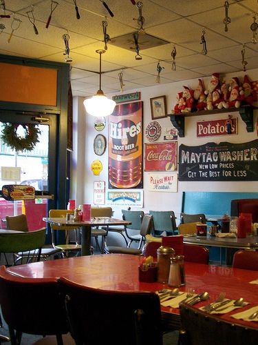 Small town America cafe.  Check out the mashers and whisks on the ceiling!
