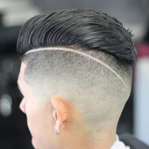 Slicked Back Hair with Design