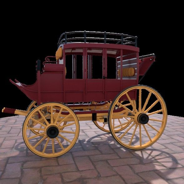 Horse Drawn Carriage  Fully editable and reusable 3D model