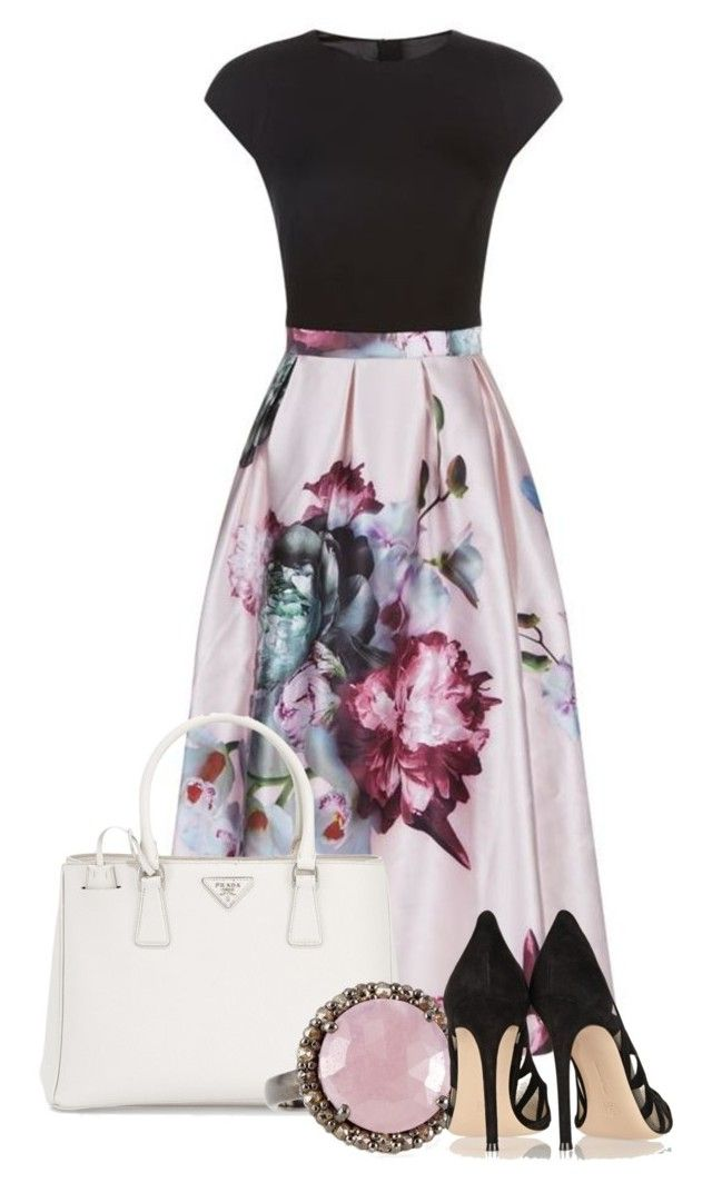 """So Feminine"" by tjinwa ❤ liked on Polyvore featuring Ted Baker, Prada, Bavna and Gianvito Rossi"