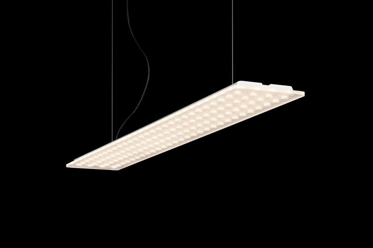 Extremely slim, height-adjustable LED.next suspended luminaire for the office and home (as well as extension for Modul L 196 in grid arrays), version with additional indirect lighting for atmospheric ceiling illumination, support made of anodised aluminium, diffuser made of matt acrylic glass, 112 conical indentations for directing light and reducing glare, suitable for workplace lighting in accordance with DIN EN 12464-1, light distribution 88 % direct beam, 12 % indirect beam, version for…