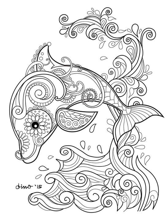 Dolphin Colouring Or Embroidery