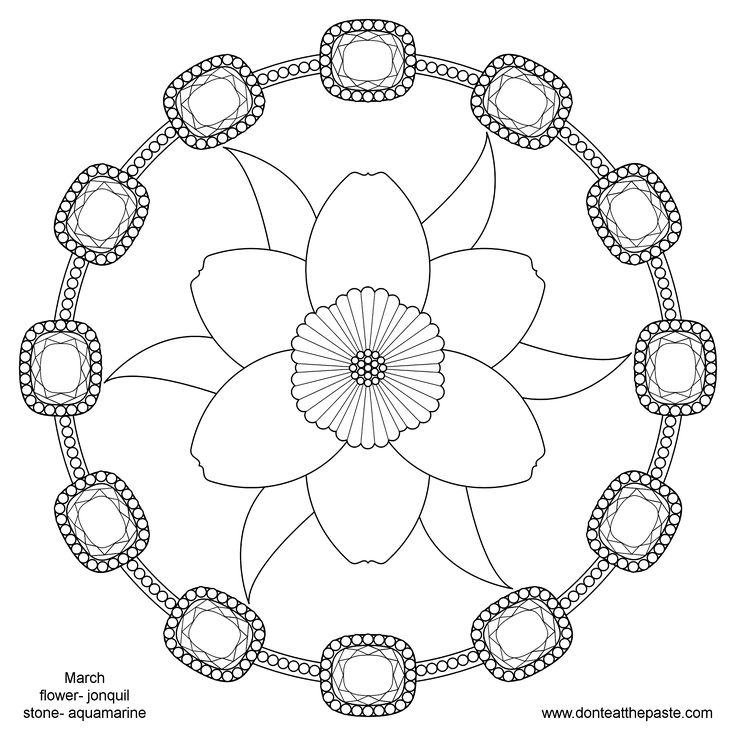 Dont Eat The Paste March Birthstone And Flower Mandala