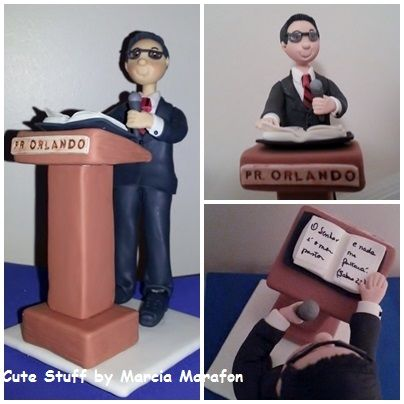 """Personalized cake topper """"the pastor"""", in cold porcelain."""