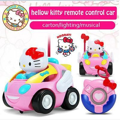 Hello Kitty Rc Car Remote Control Toy Figure Pink Music Light Cute New Kids Gift