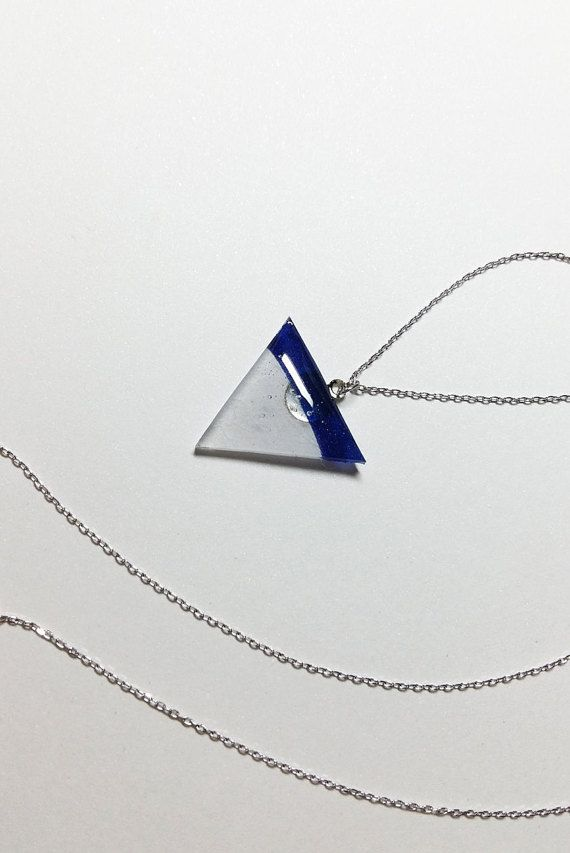 White blue triangle silver necklace by MirageByHeilaG on Etsy