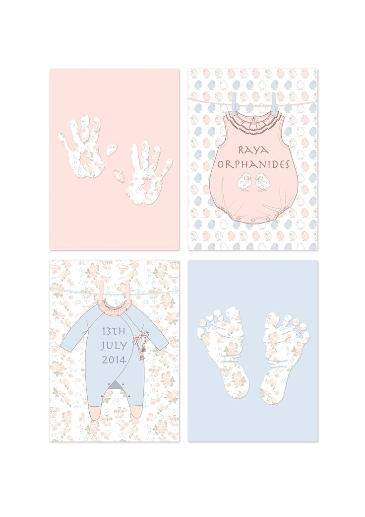 Adorable set of 4 personalised prints