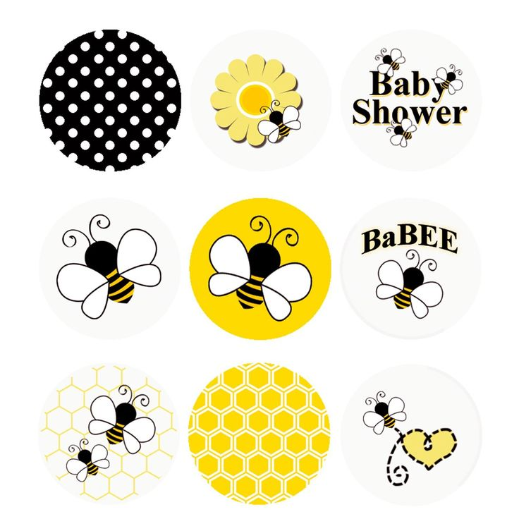 Bumble Bee Baby Shower Stickers sized just for the bottoms of Hershey Kisses and Other Small Candies.  Cute #Bee Shower Favor idea.