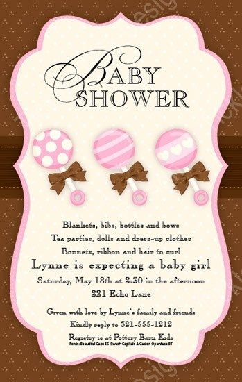 Baby Girl Rattles Baby Shower Invitation