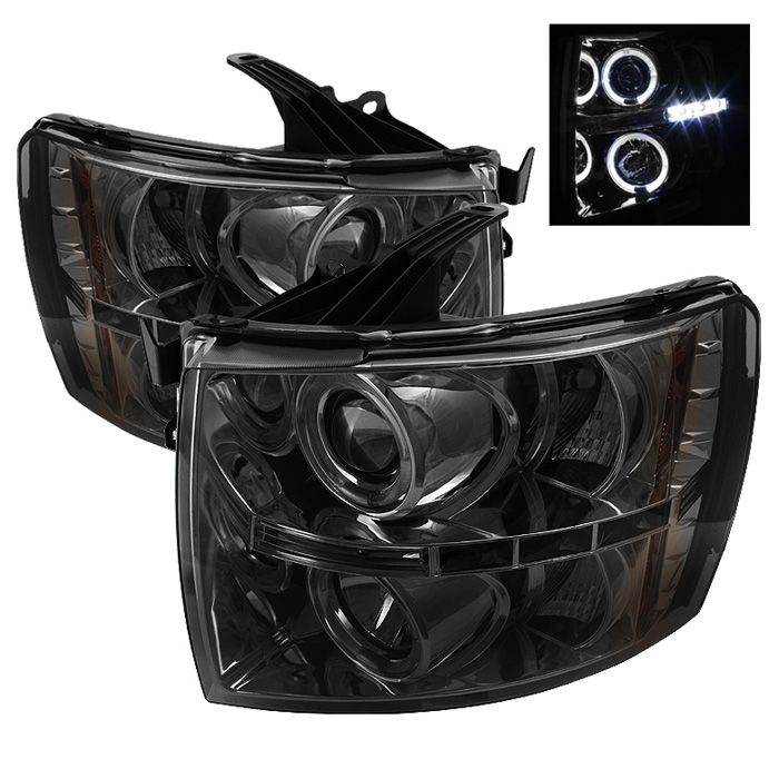 2007-2013 Chevy Silverado Smoke Projector Headlights - Spyder Auto - Pair - 2007, 2008, 2009, 2010, 2011, 2012, 2013