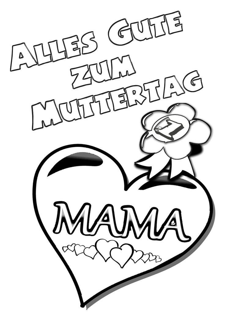 Muttertag Ausmalbild & Malvorlage Gruß mit Herz ...