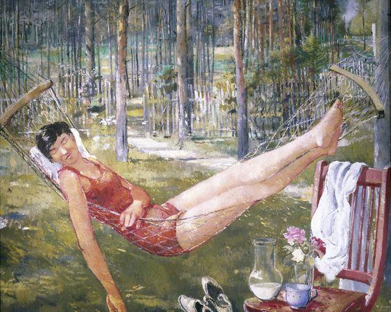 Юрий Пименов. Женщина в гамаке. 1934 год: