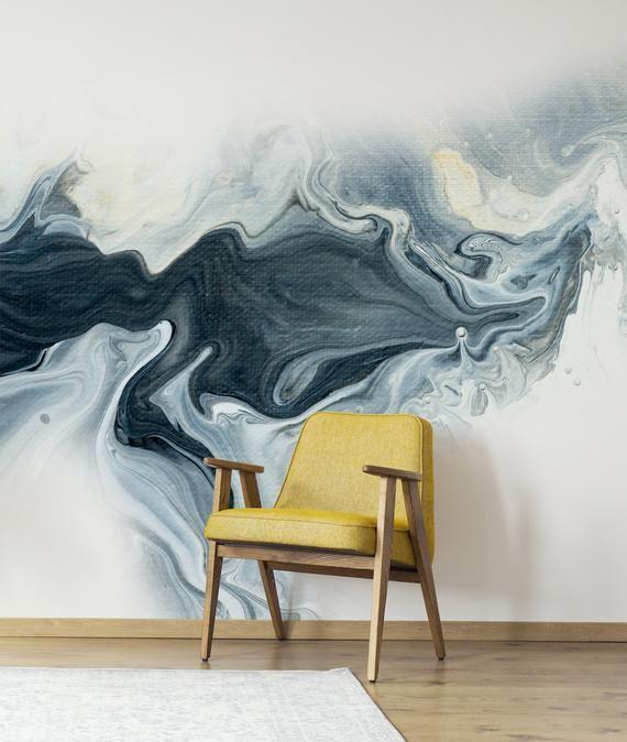 Painted Abstract Wall Mural Peel And Stick Wallpaper Acrylic Etsy Wall Murals Wall Wallpaper Wall Prints