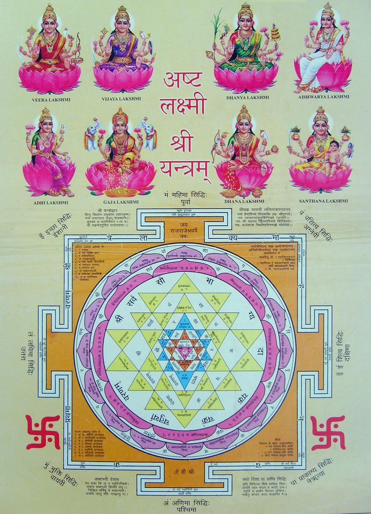 "Mahalakshmi (Laxmi) Mantra & Shri Yantra - Wealth Giving-Om Shreem Hreem Shreem Kamale Kamalaleyi Praseed Praseed Om Shreem Hreem Shreem Mahalaxmiyei Namaha -*If you recite this mantra daily 108 times financial worries, trouble will go away. **Daily worship of this mantra helps in attaining Siddhi. *Siddhi is typically defined as ""a magical or spiritual power for the control of self, others and the forces of nature."""