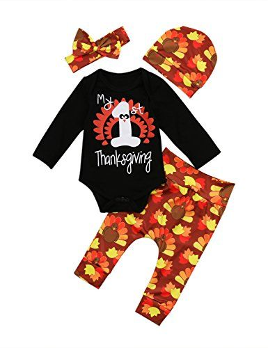 9d6b8171a Thanksgiving Outfit Newborn Baby Boy Girl Letter Print Romper Turkey Print  Pant Hat Headband 4pcs Clothes Set -Miward | Hobbies & Crafts | Thanksgiving  ...