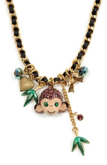 """Betsey Johnson """"Asian Jungle"""" Monkey Charm Necklace. : 31 Necklaces, Monkey Charms, Betsy Johnson, Charms Necklaces, Charms Mor, Monkey Betsey Johnson, Necklaces Jewelry, Asian Jungles, Charm Necklaces"""