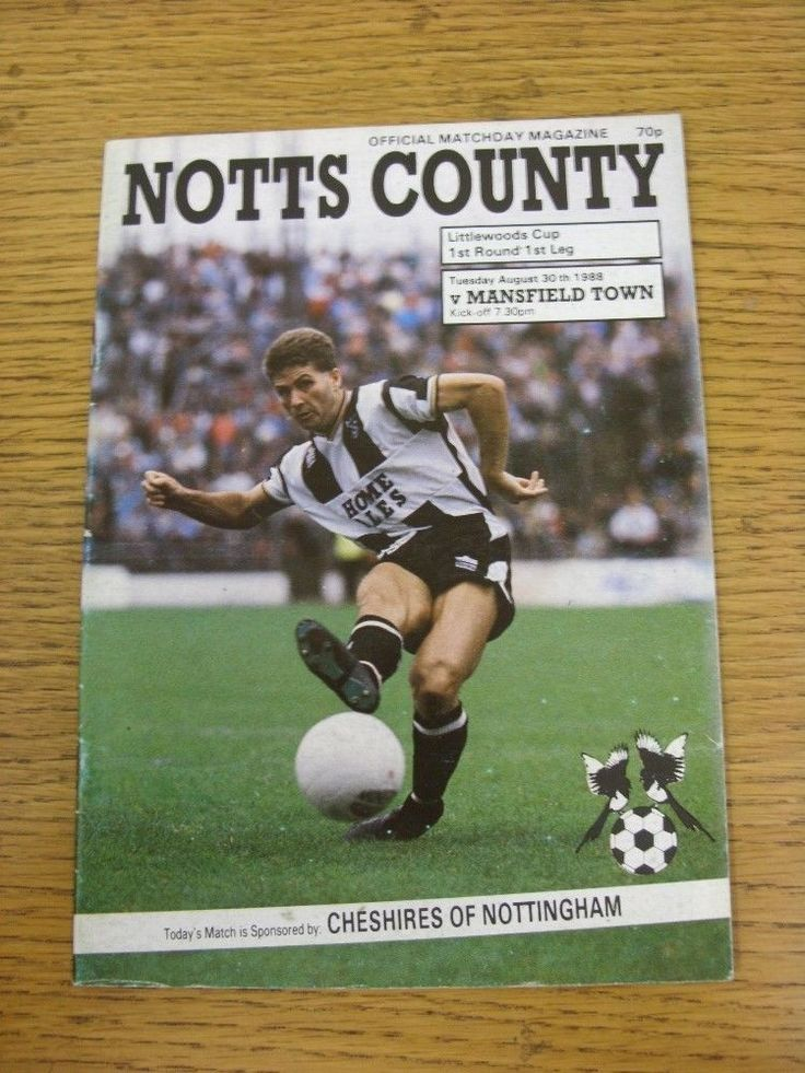 30/08/1988 notts county v mansfield town [#Football league cup] . this item has b from $4.27
