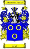 AYLETT Family Crest / AYLETT Coat of Arms  This surname AYLETT was a baptismal name 'the son of Ailet' which was derived from the old person... #code of arms #family shield #genealogy #heraldry #crests #family #reunion #heritage #geneology
