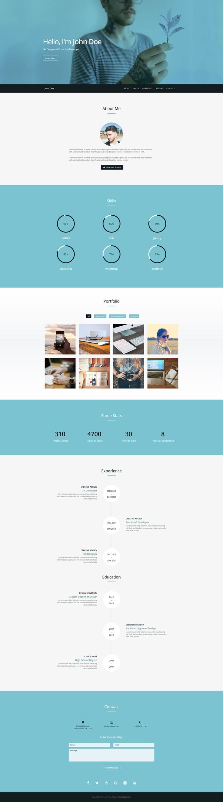 Verum is a free one page HTML resume / CV template built with Bootstrap. Features include responsive design, filterable portfolio, resume section, working contact form and more.