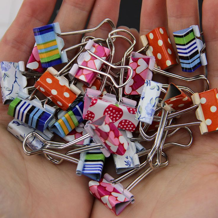 Two Size Mix 12pcs / lot Flower Printed Metal Binder Clips Office Supplies Clamp Clips Fixed Folder