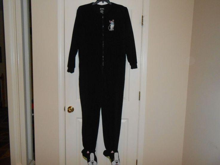 Nick & Nora Women's Footed Pajamas Black w/Bulldog Size Large (L) FREE SHIPPING! #NickNora #FootedPajamas