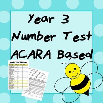 Year 3 Number Test- ACARA Based