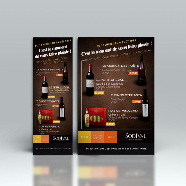 Publicité à l'occasion des soldes pour la cave à vins et spiritueux Sodival, basée à Nouméa.