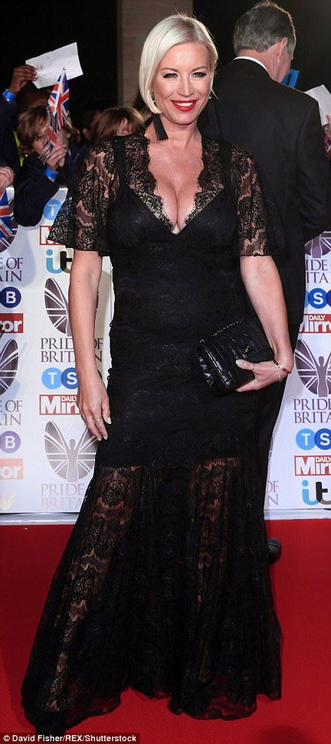 Racy in lace: Also putting on a busty display was Denise Van Outen, who opted for a dramatic Gothic black lace gown, complete with trendy semi-sheer skirt