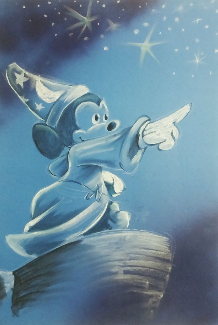 Fantasia themed artwork for a ballet concert - soft pastel onto spraypainted blue board