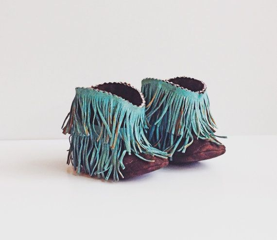 Baby Moccasin Boots, Baby Western Booties Hand Painted Shabby Chic Turquoise Fringe and Brown Baby Western Boots, Cowboy Boots, Fringe Boots