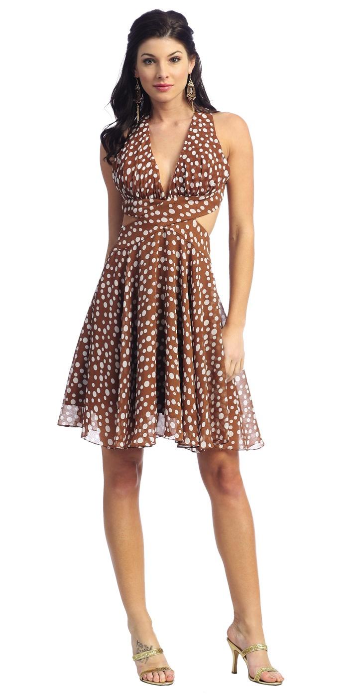 Light Brown Casual Polka Dot Dress Halter Short Dress Open Back $98.99
