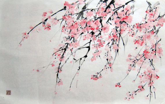 Sakura Japanese ink painting Suibokuga Sumi-e Cherry ...
