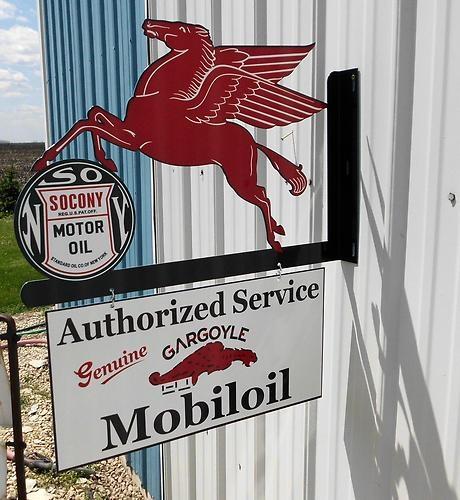 Hand Painted Gargoyle Mobiloil Sign