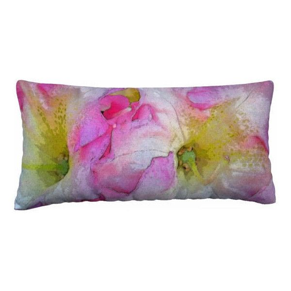Pink Yellow Pillow Case, Printed Floral Cover, Square Oblong... (105 ILS) ❤ liked on Polyvore featuring home, home decor, throw pillows, floral throw pillows, yellow pillow shams, pink shams, floral pillow shams and flowered throw pillows