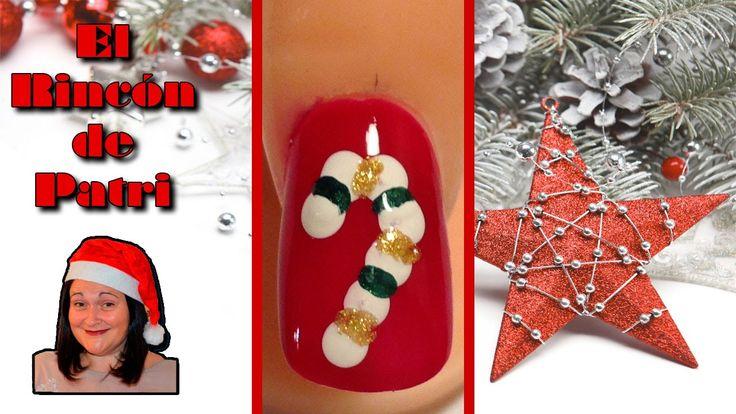 Diseño de uñas bastón de caramelo de Navidad de El rincón de Patri Nail Art. Sigue todos nuestros diseños de decoración de uñas en http://www.rincondepatri.com Christmas Candy Nail Art