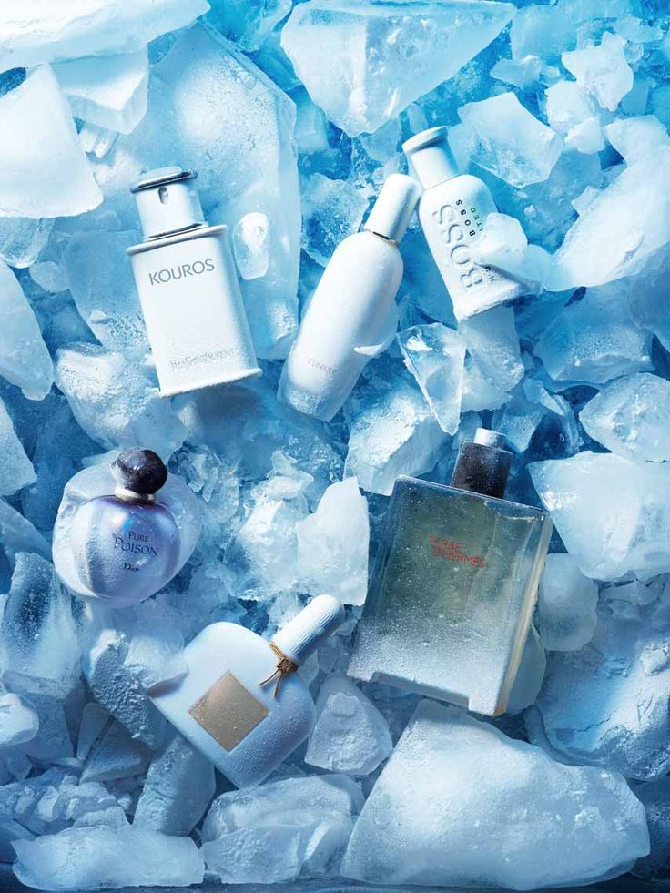 Beauty in ICI Paris Magazine Photography by Frank Brandwijk I 'Beauty Products on Ice' 'Perfume Blue Cold' 'Winter'