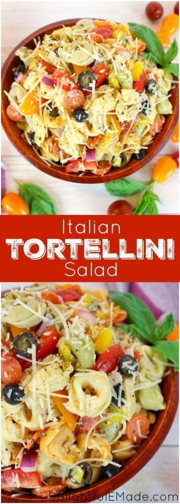 The perfect pasta salad for any pot-luck, picnic, cookout or backyard barbeque!  This delicious tortellini salad is loaded with all of your Italian favorites, like tomatoes, olives, banana peppers, red onion, and topped with Italian dressing and shredded